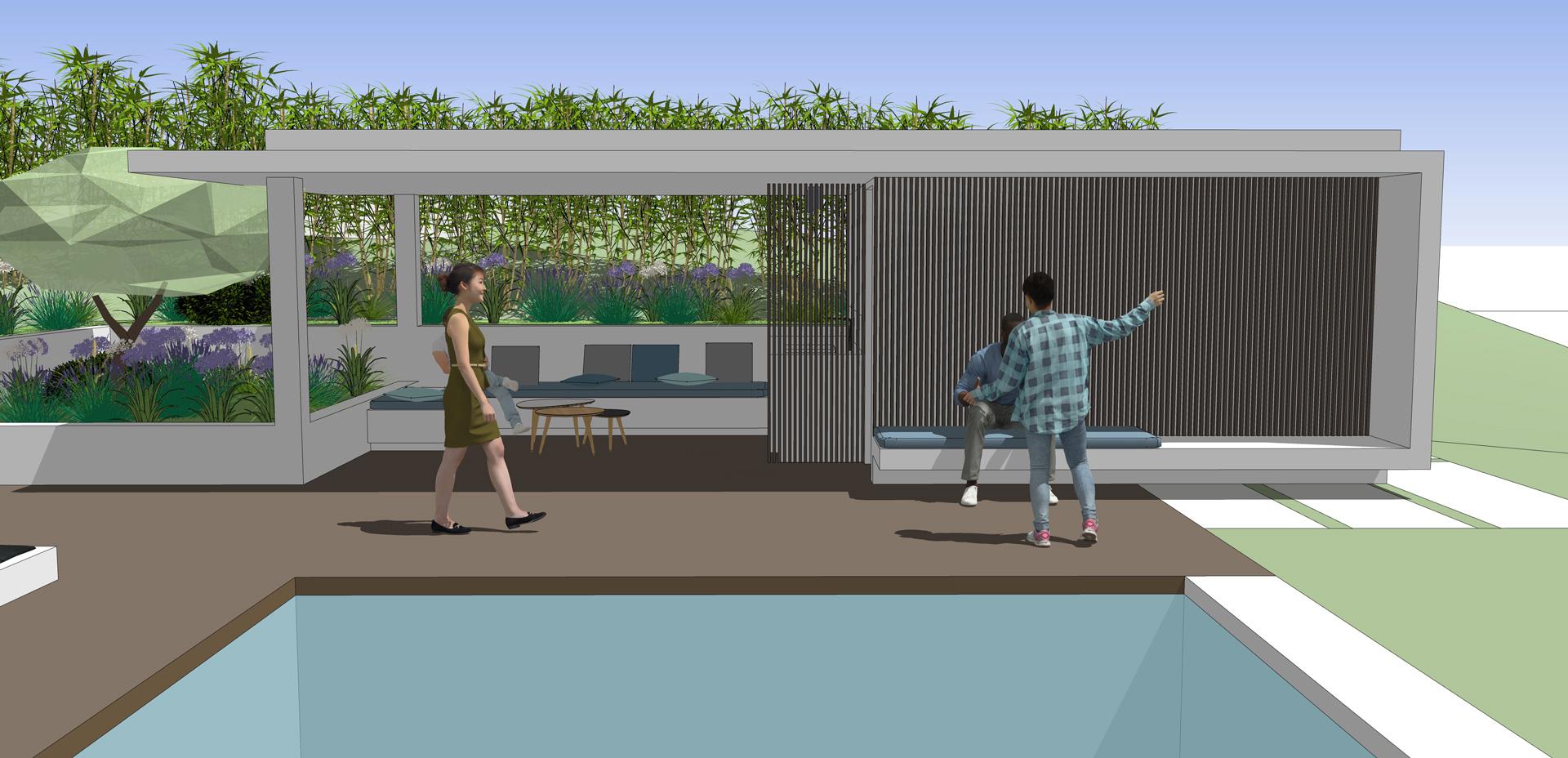 Espace piscine avec pool-house contemporain